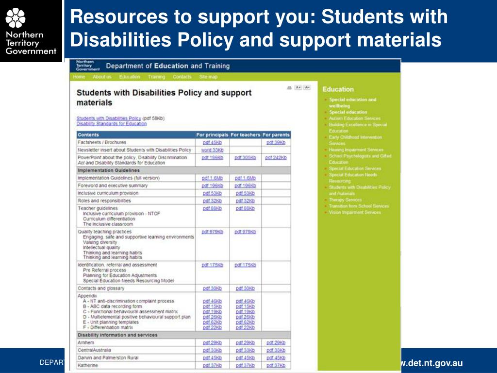 Resources to support you: Students with Disabilities Policy and support materials