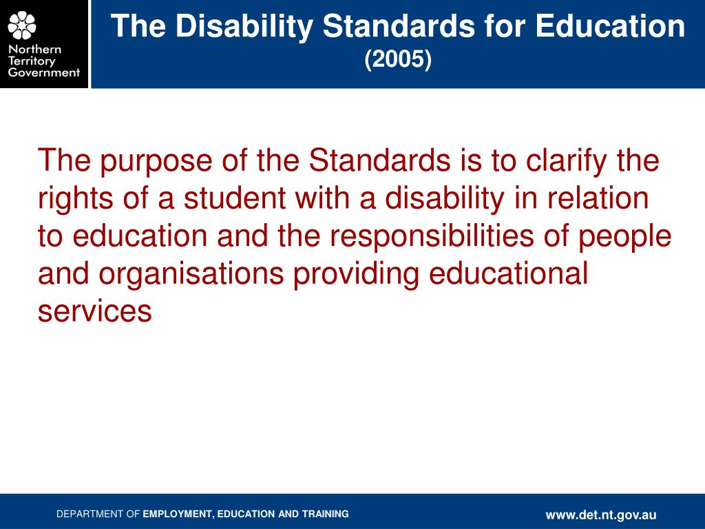 The Disability Standards for Education