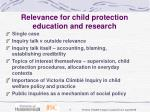 relevance for child protection education and research