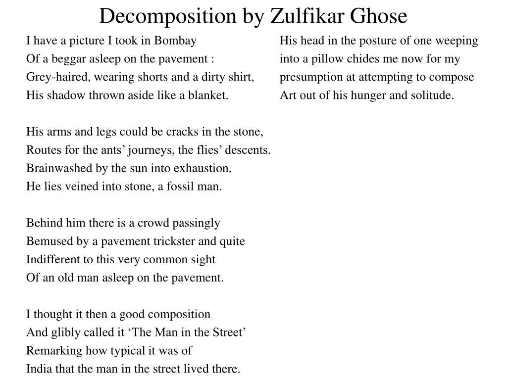 decomposition poem analysis pdf