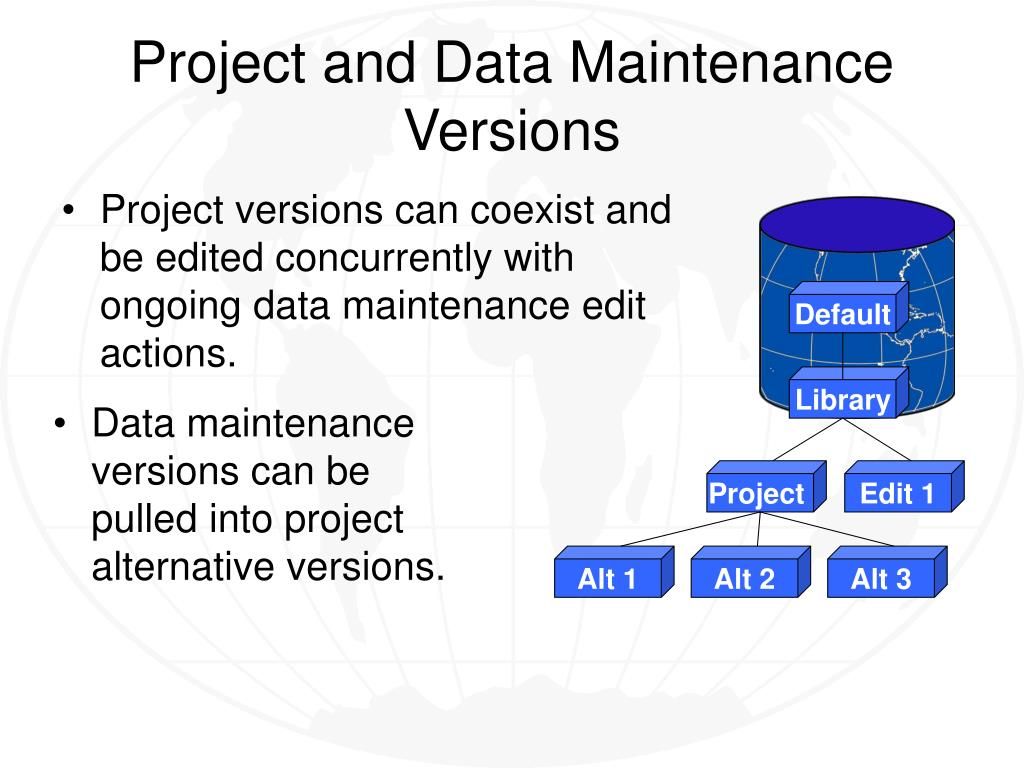 Project versions can coexist and be edited concurrently with ongoing data maintenance edit actions.