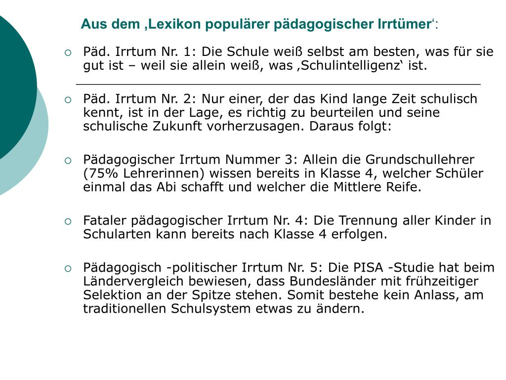 Aus dem 'Lexikon populärer pädagogischer Irrtümer