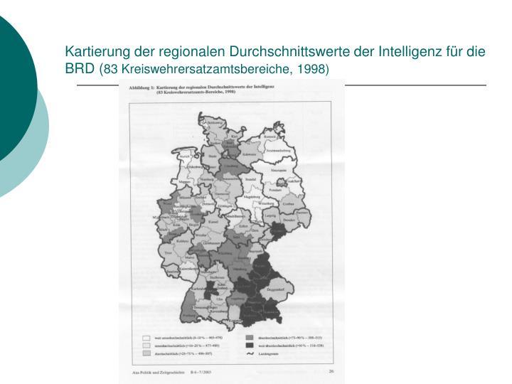 Kartierung der regionalen Durchschnittswerte der Intelligenz für die BRD (