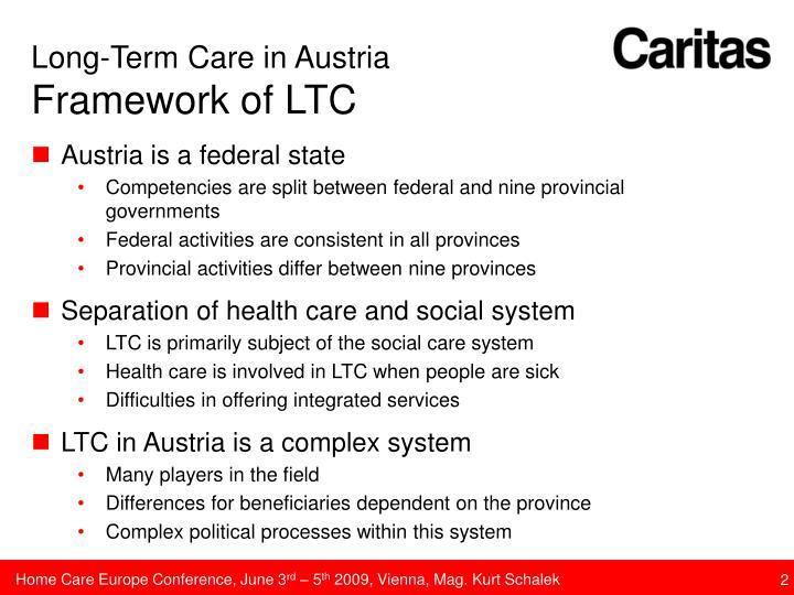 Long term care in austria framework of ltc