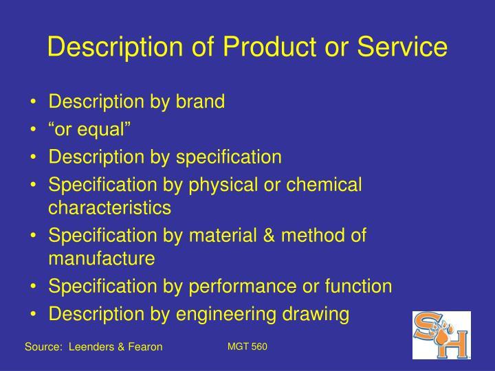 Description of product or service