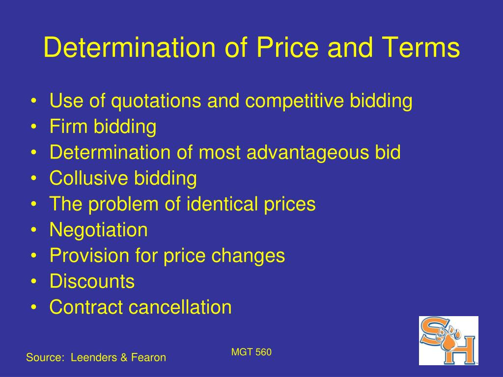 Determination of Price and Terms