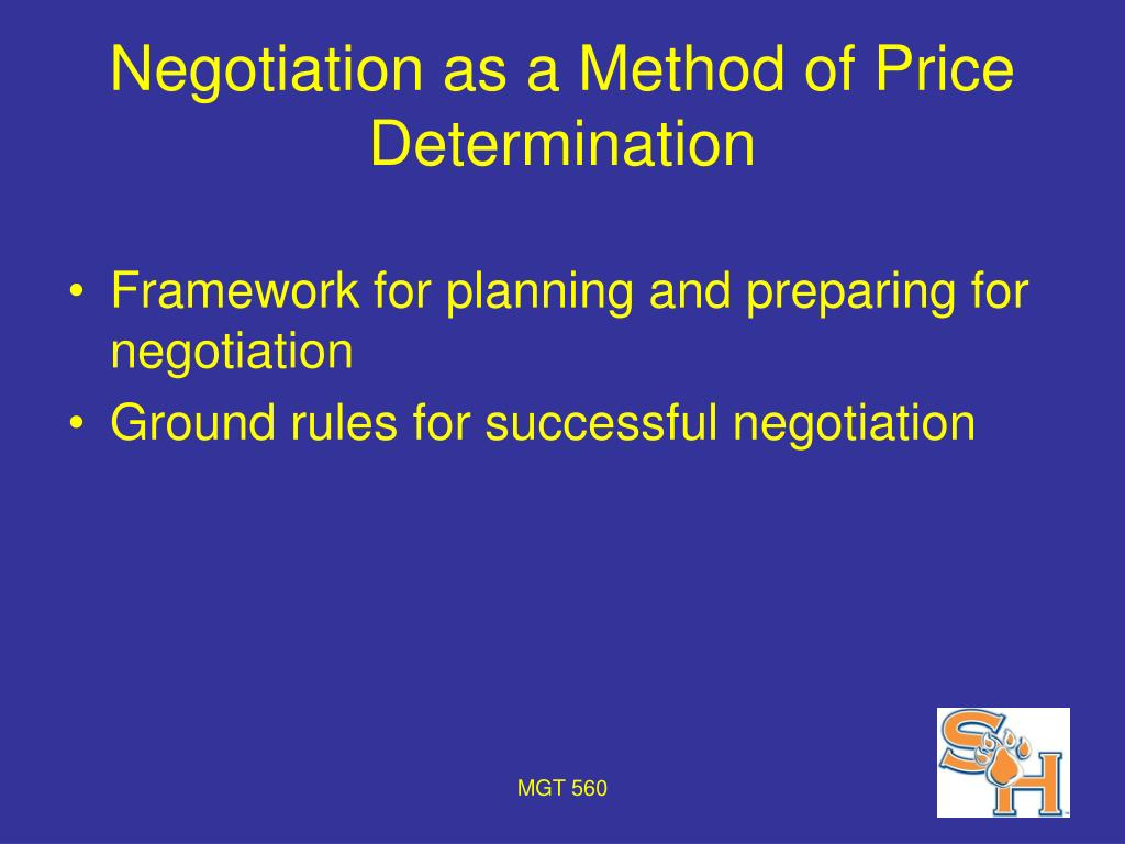 Negotiation as a Method of Price Determination