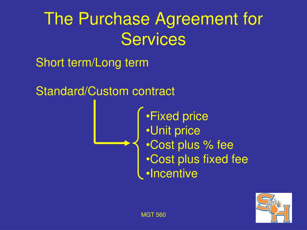 The Purchase Agreement for Services
