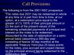 call provisions