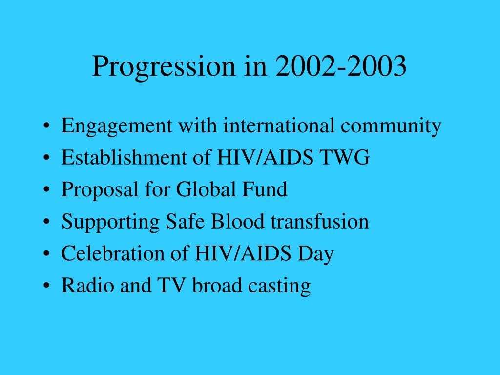 Progression in 2002-2003