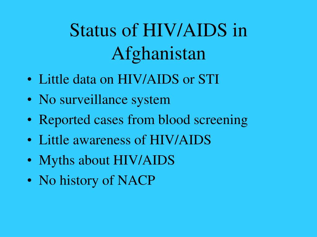Status of HIV/AIDS in Afghanistan