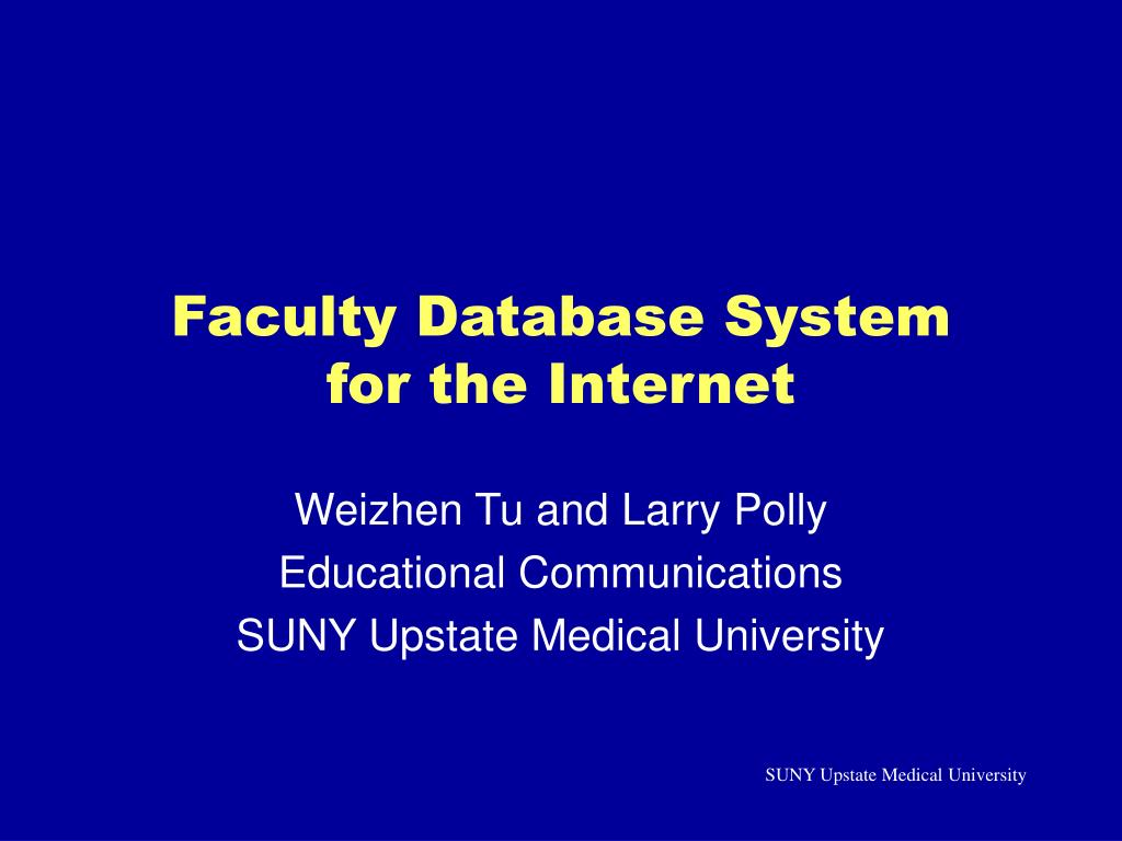 faculty database system for the internet