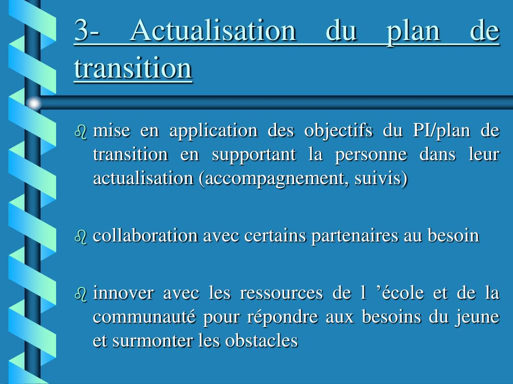 3- Actualisation du plan de transition