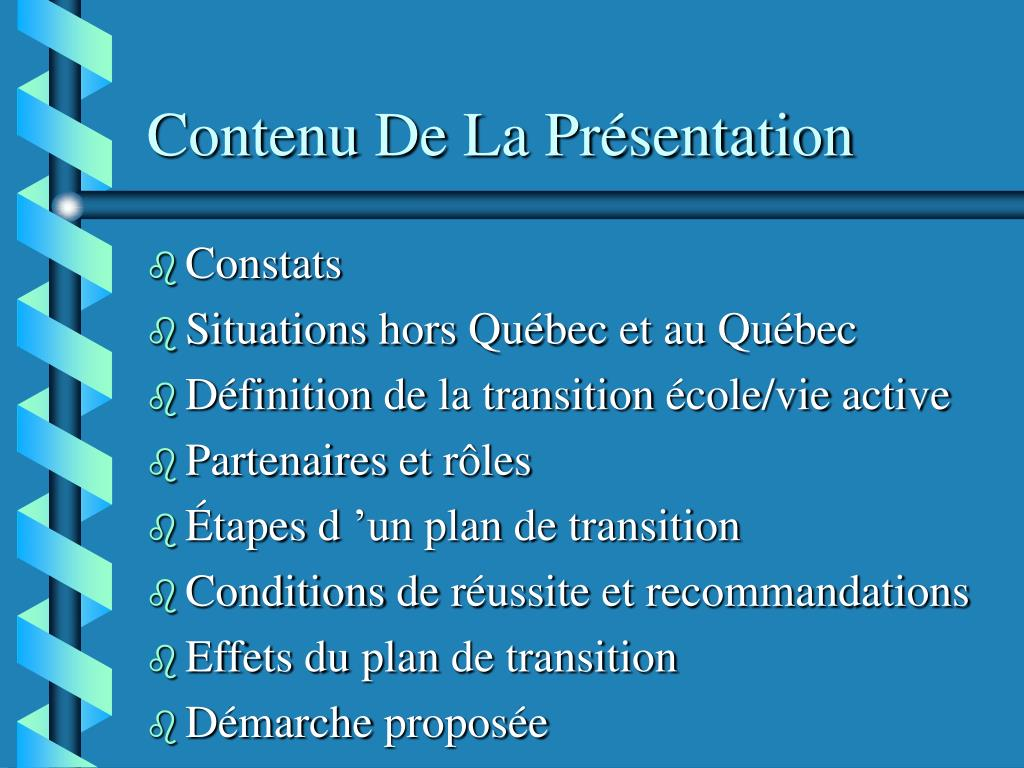 Contenu De La Présentation