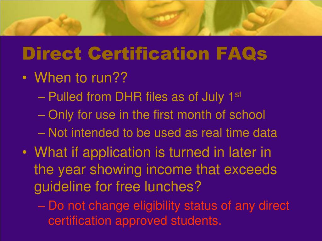 Direct Certification FAQs
