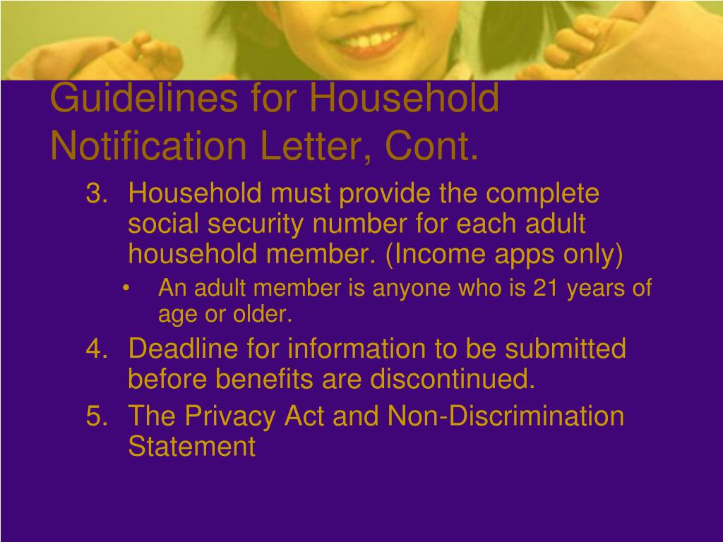Guidelines for Household Notification Letter, Cont.