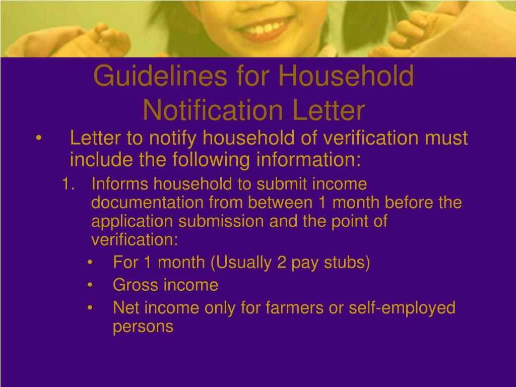 Guidelines for Household Notification Letter
