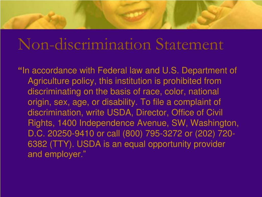Non-discrimination Statement