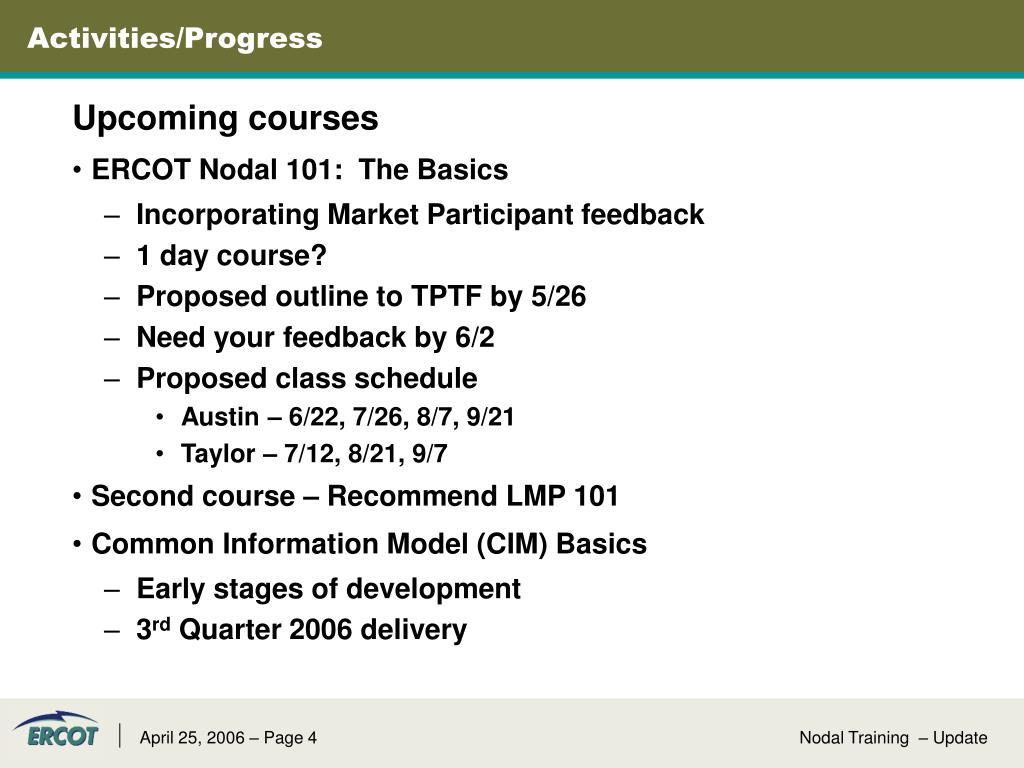 Activities/Progress
