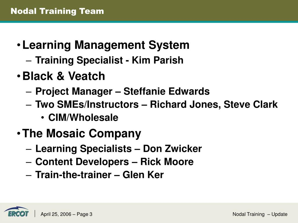 Nodal Training Team