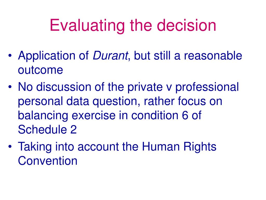 Evaluating the decision