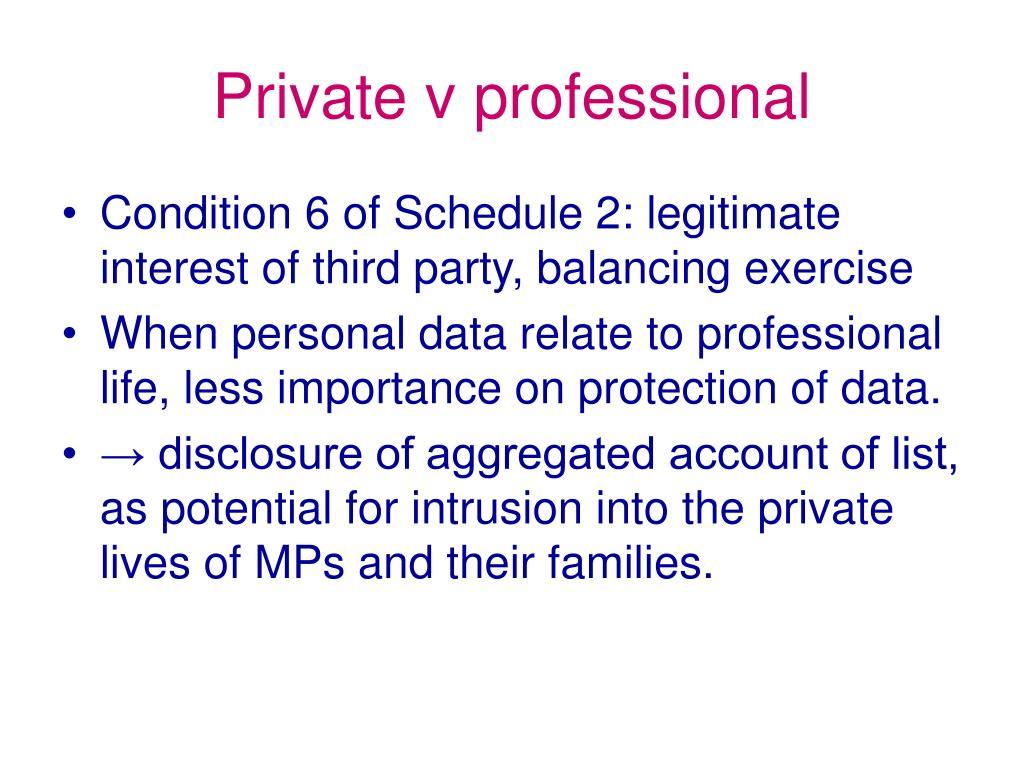 Private v professional