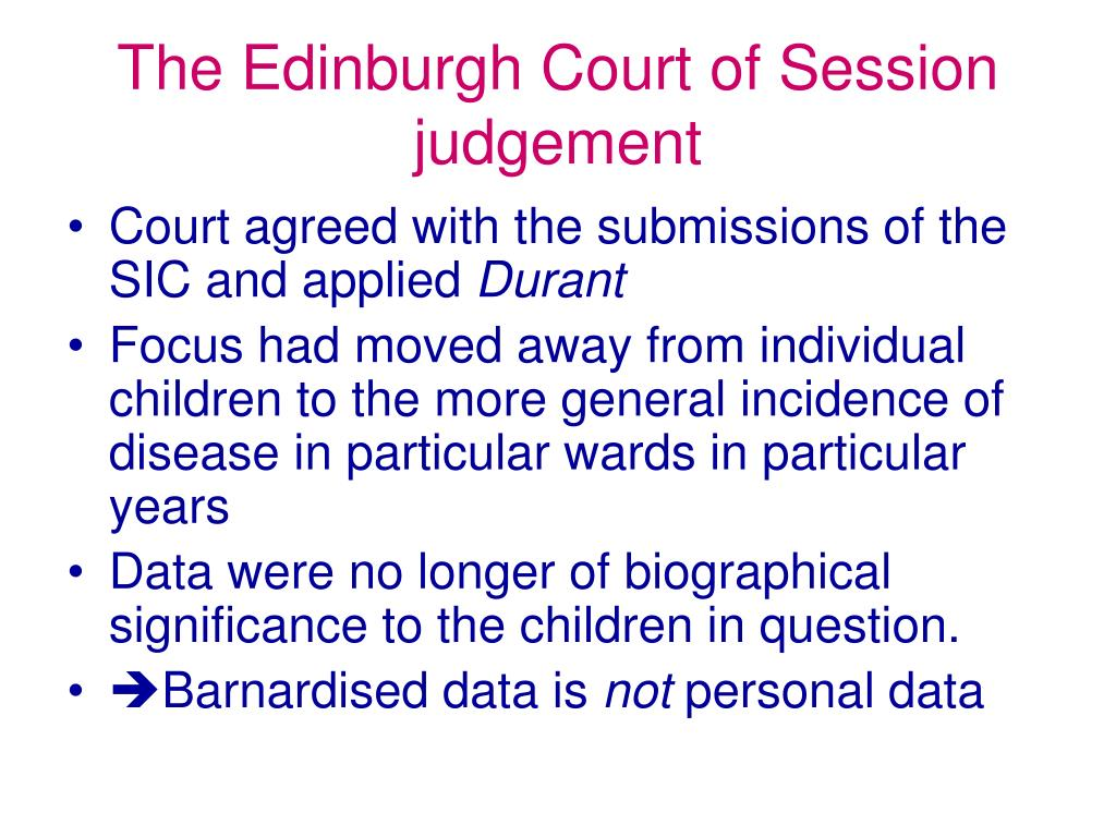 The Edinburgh Court of Session judgement