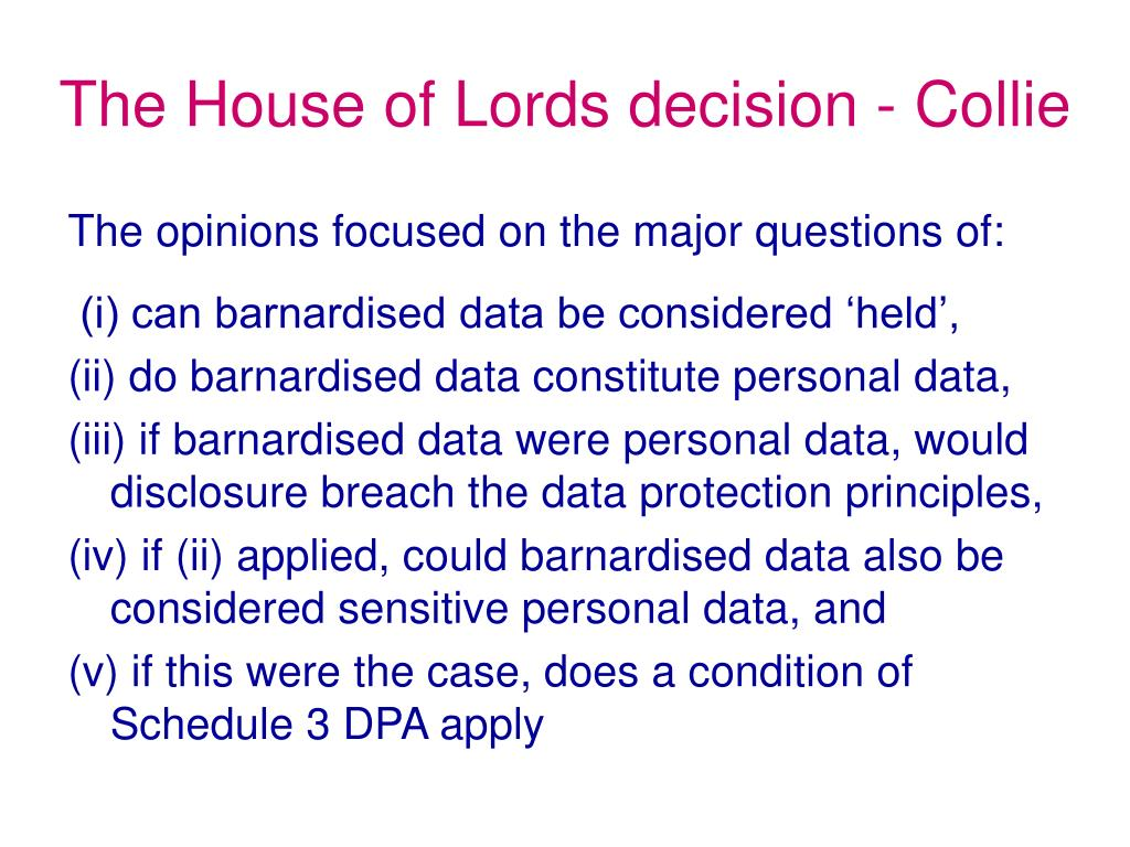 The House of Lords decision - Collie