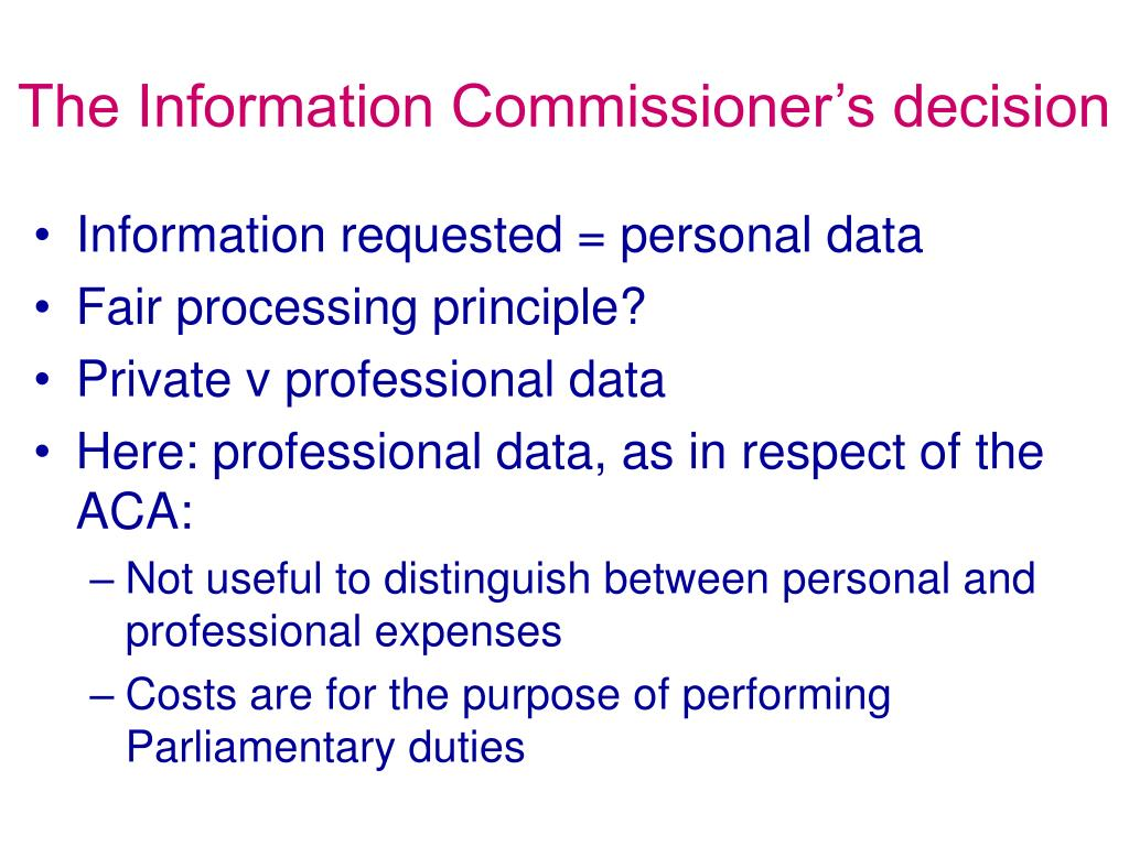 The Information Commissioner's decision