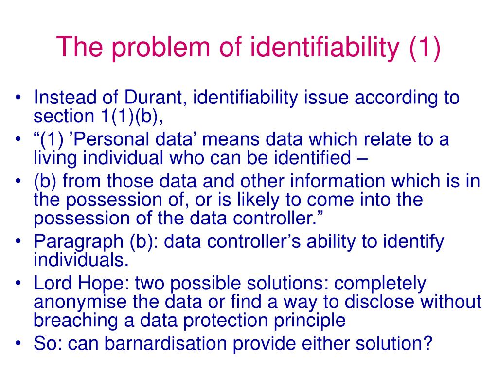 The problem of identifiability (1)
