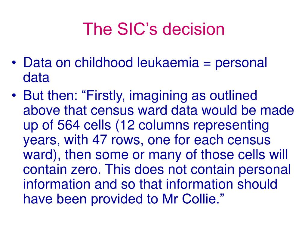 The SIC's decision