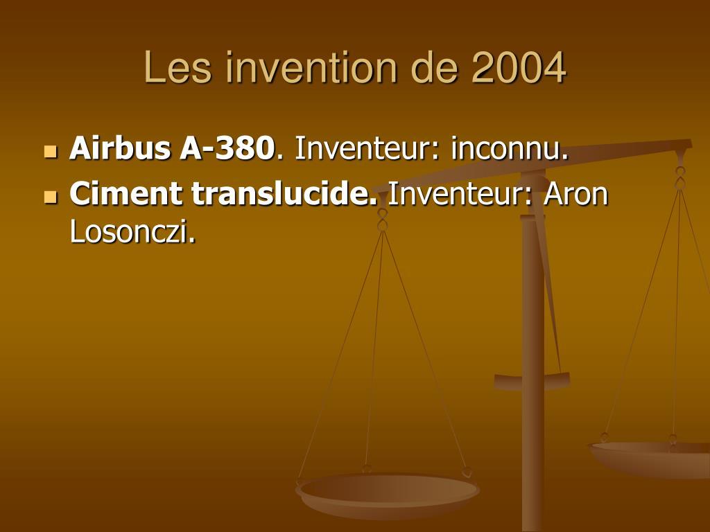 Les invention de 2004