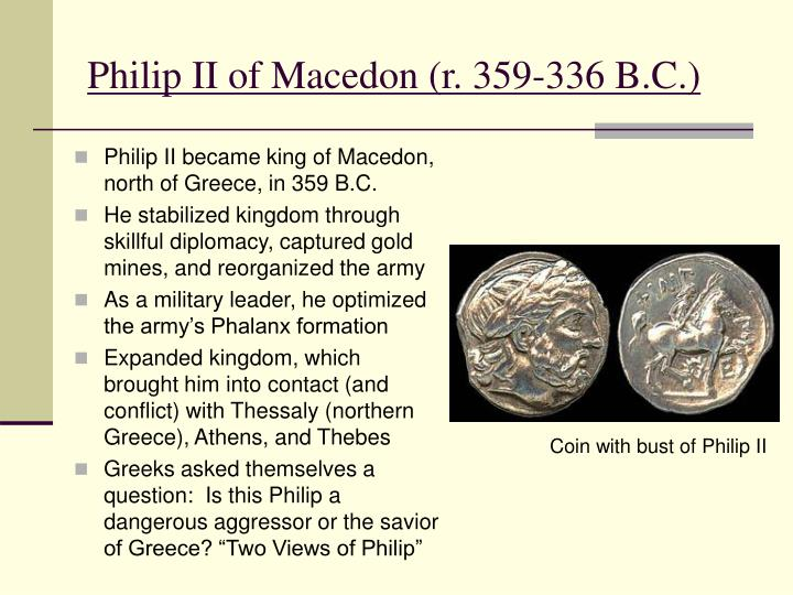 Philip ii of macedon r 359 336 b c