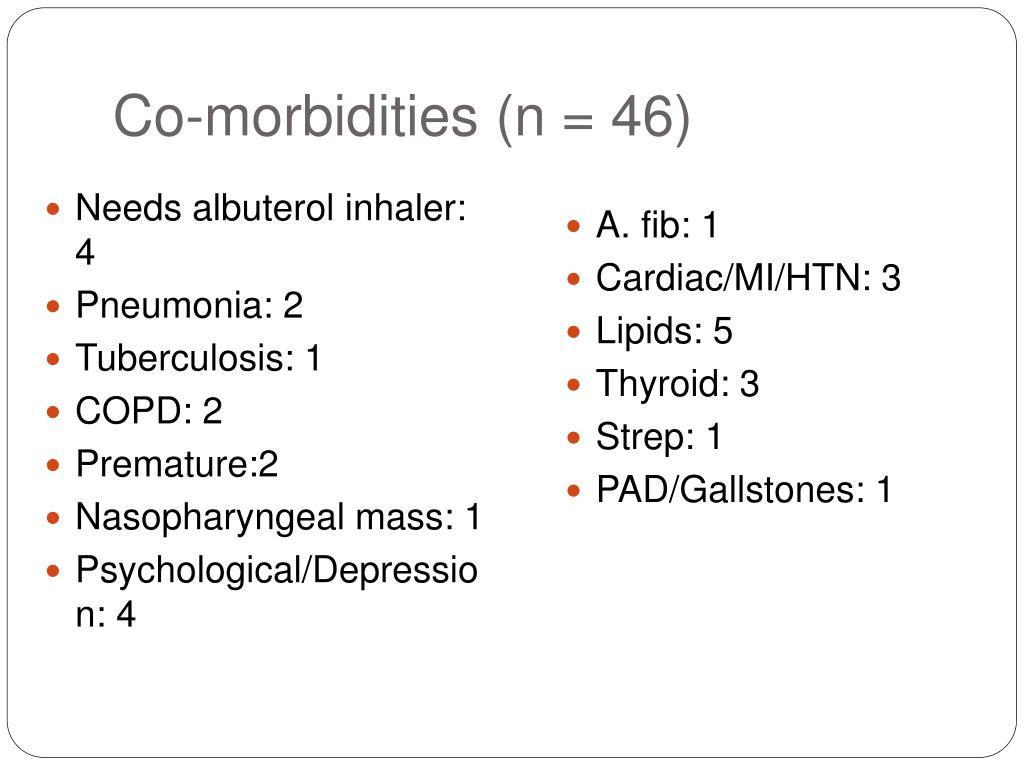 Co-morbidities (n = 46)
