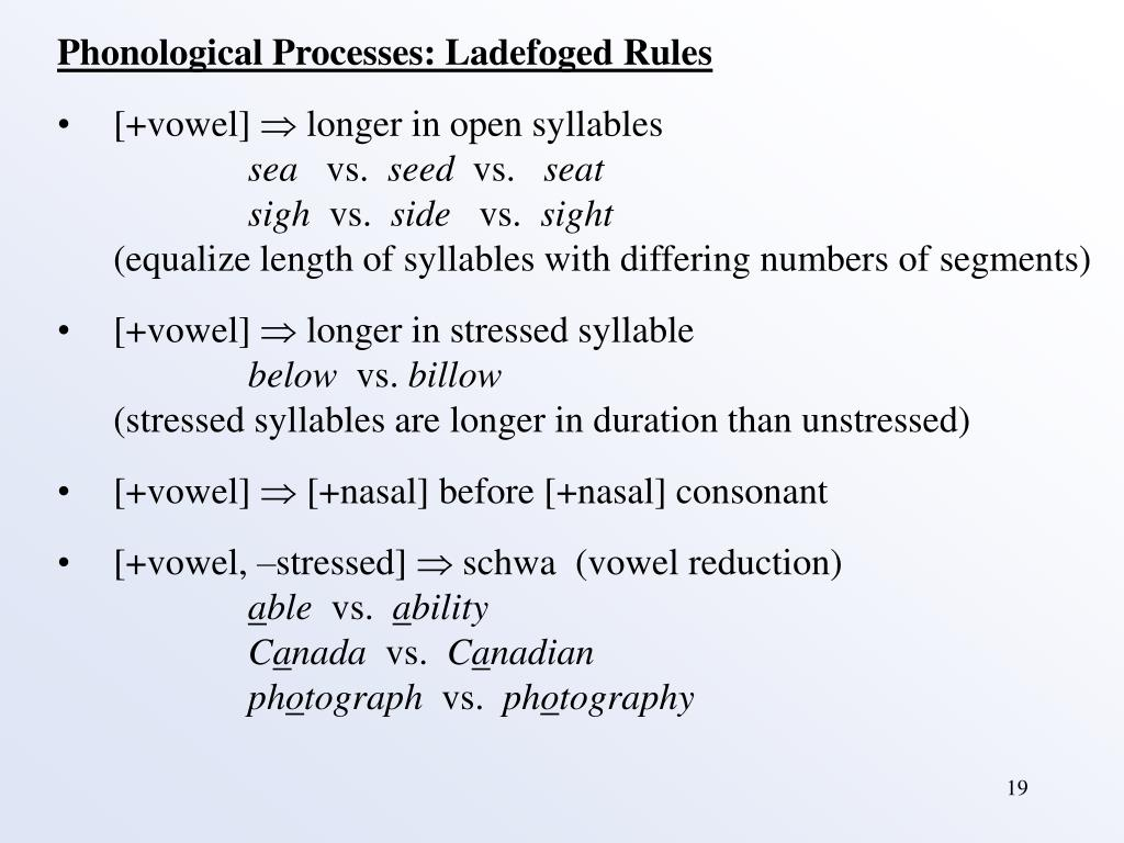 Phonological Processes: Ladefoged Rules
