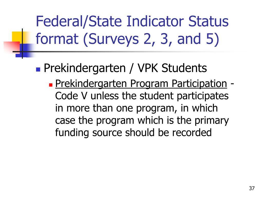 Federal/State Indicator Status format (Surveys 2, 3, and 5)