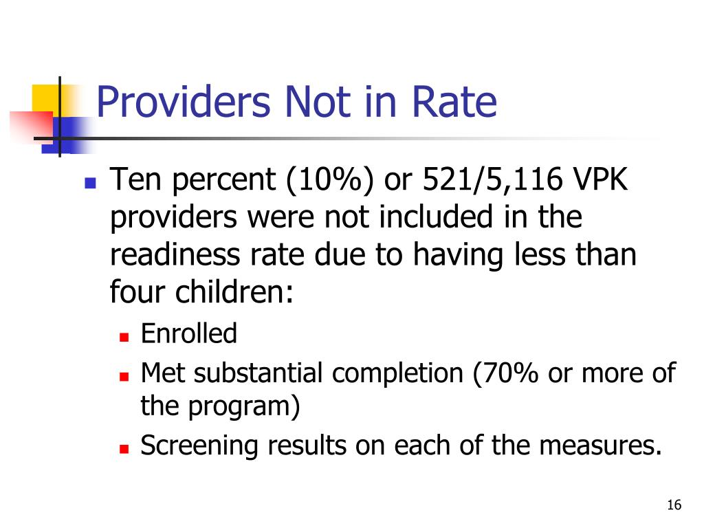 Providers Not in Rate