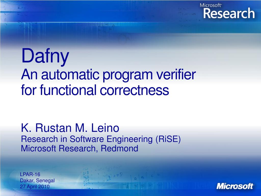dafny an automatic program verifier for functional correctness l.