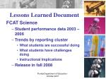 lessons learned document
