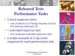 released tests performance tasks