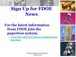 sign up for fdoe news