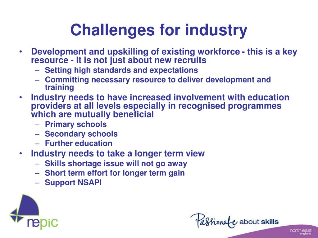 Challenges for industry