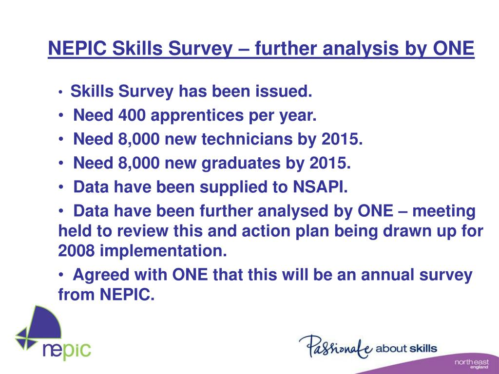 NEPIC Skills Survey – further analysis by ONE