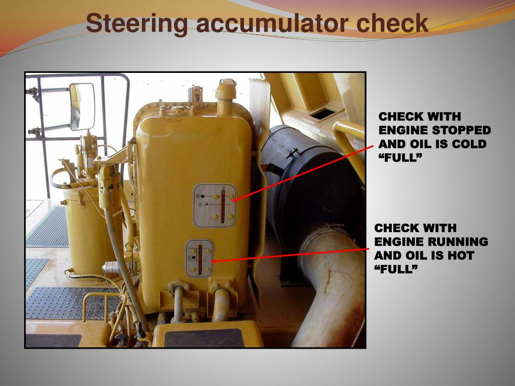Steering accumulator check