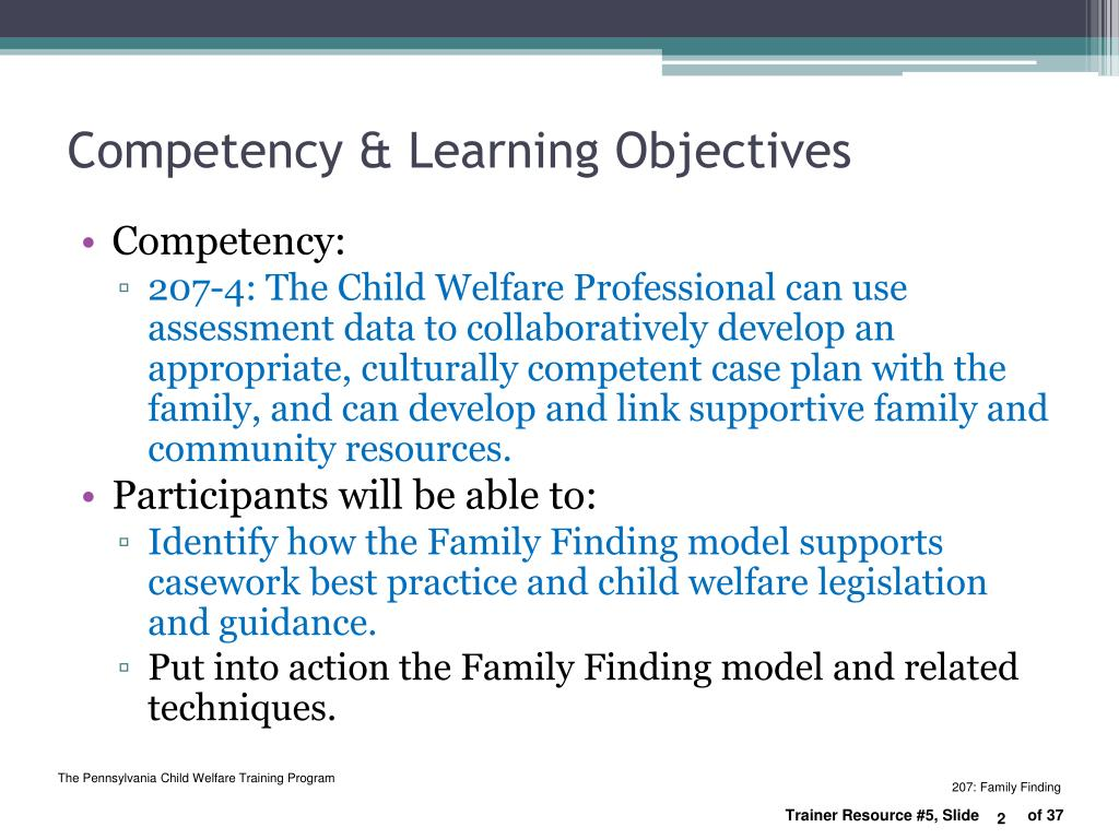 Competency & Learning Objectives