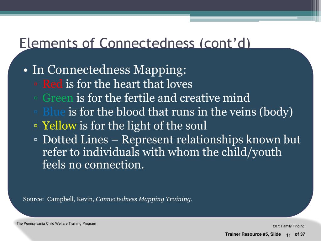 Elements of Connectedness (cont'd)