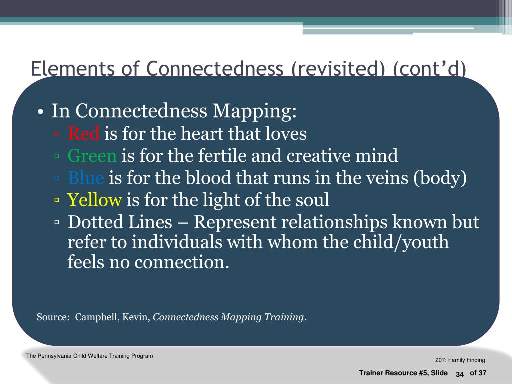 Elements of Connectedness (revisited) (cont'd)
