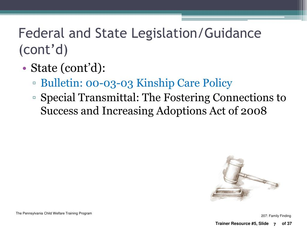 Federal and State Legislation/Guidance (cont'd)