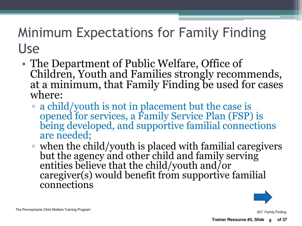 Minimum Expectations for Family Finding Use