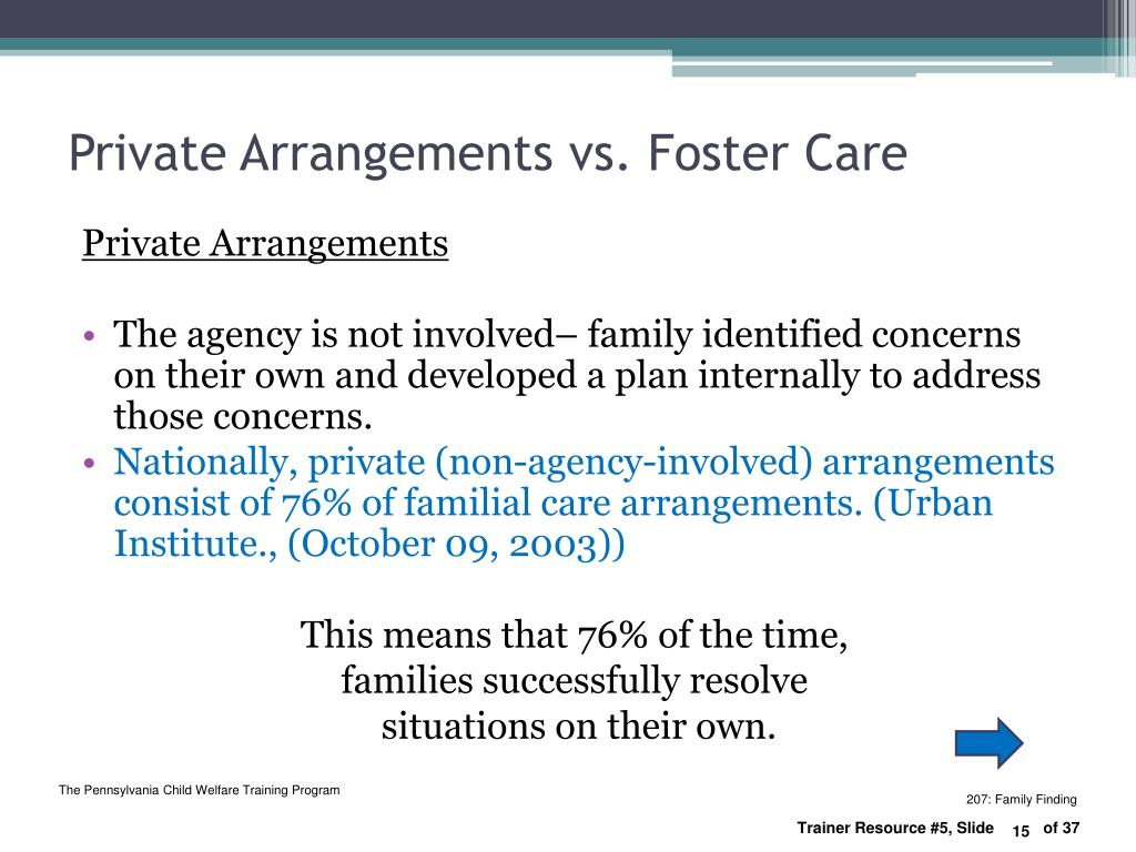 Private Arrangements vs. Foster Care